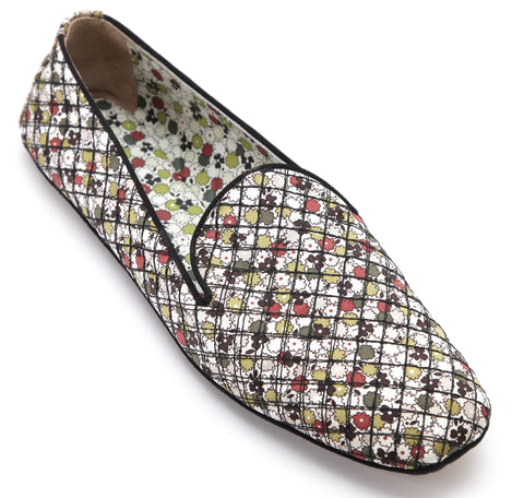 BOTTEGA VENETA Flat Loafer Moccasin Shoe Printed Canvas Leather Floral 39.5 - Evesherfashion