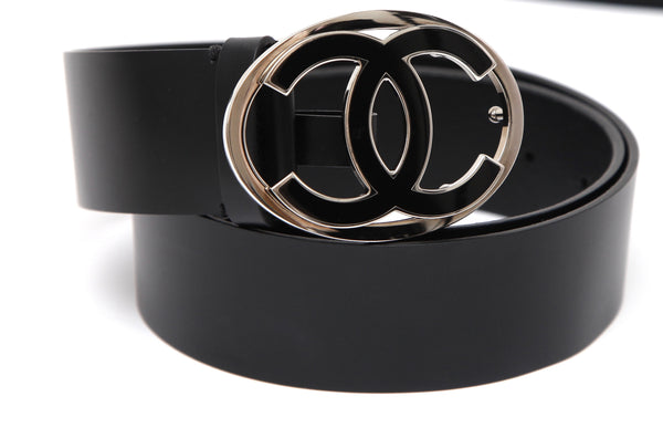 CHANEL Black Leather BELT CC Logo Buckle Medium Width Sz 80 - Evesherfashion