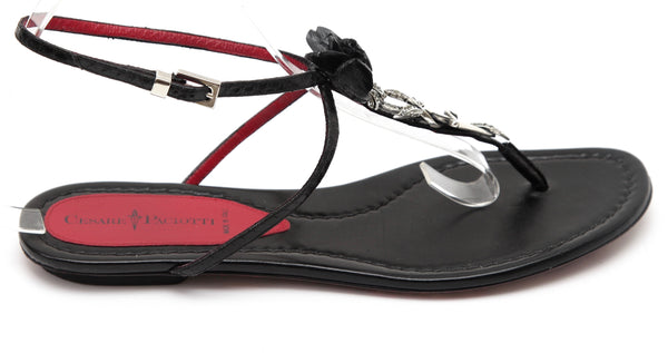 CESARE PACIOTTI Thong Sandal Flat Black Leather Snakeskin Floral Sword 40 - Evesherfashion