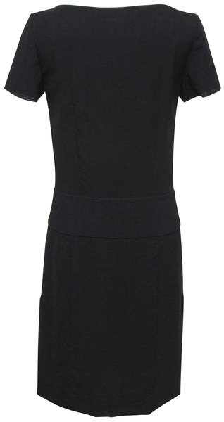 CHLOE Dress Shift Black Short Sleeve Scoop Neck Buttons Sz 34 2007 - Evesherfashion
