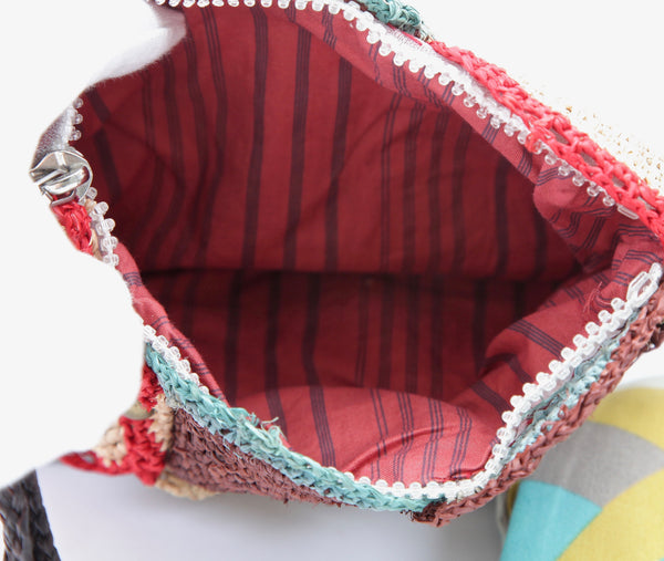 JAMIN PUECH Bag Clutch Raffia Multi-Color Studs Striped Lining Change Purse - Evesherfashion