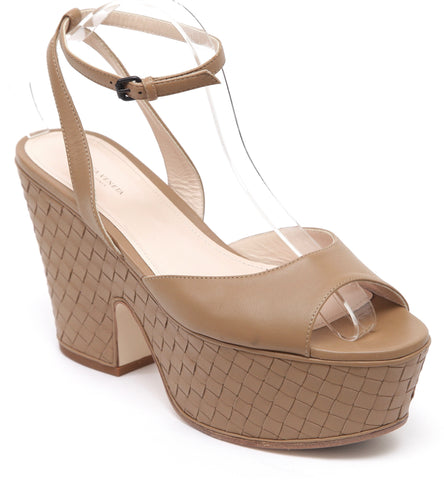 BOTTEGA VENETA Platform Intrecciato Leather Tan Ankle Strap Peep Toe Sz 39.5 - Evesherfashion