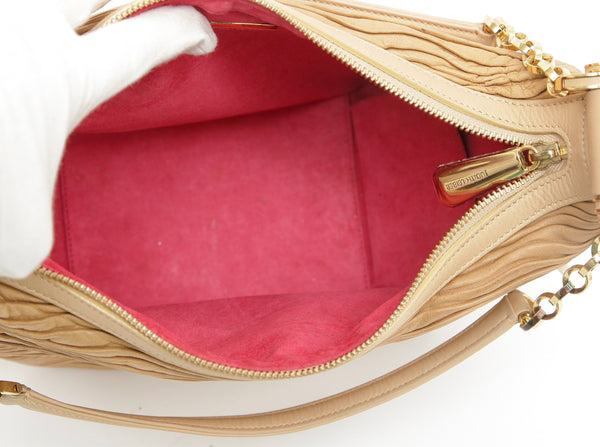 JUDITH LEIBER Leather Shoulder Bag Hobo Beige Gold-Tone HW Crystal Top Zipper - Evesherfashion