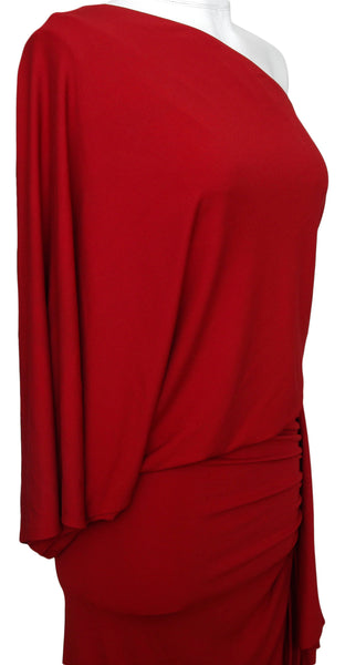 MICHAEL KORS Red Dress One Shoulder Ruched Bodycon Sz 2 MADE IN ITALY - Evesherfashion