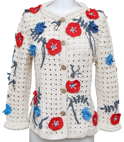 CHANEL Cardigan Knit Sweater Floral Camellia Embroidered Gold 38 RUNWAY 2010 - Evesherfashion