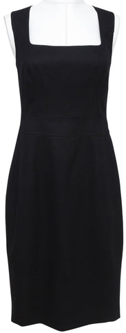 ESCADA Black Dress Sleeveless Shift Wool Blend Sz 38 - Evesherfashion