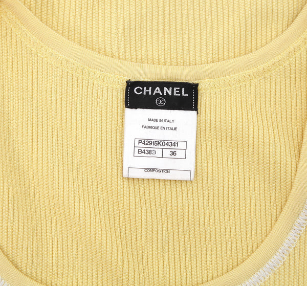 CHANEL Top Shirt Knit Sleeveless Yellow White Cotton CC Crystal 36 2012 12C - Evesherfashion
