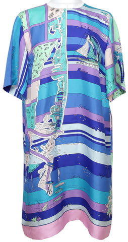EMILIO PUCCI Silk Dress Short Sleeve FLORIDA PRINT Blue Lavender Sz 46 12 - Evesherfashion