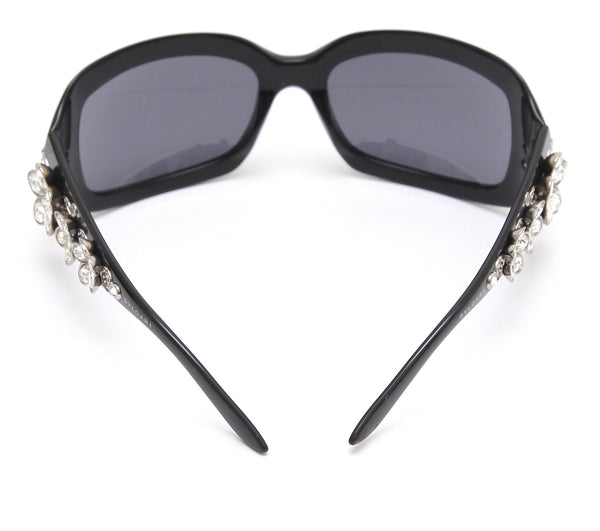 BVLGARI Black Sunglasses Acetate Frame Swarovski Crystals Grey Lens 856-B - Evesherfashion