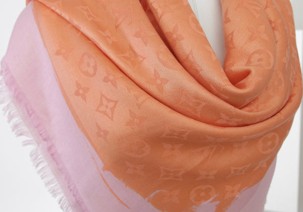 LOUIS VUITTON Pink Orange MONOGRAM SHAWL Silk Wool Fringe Large Scarf Wrap - Evesherfashion