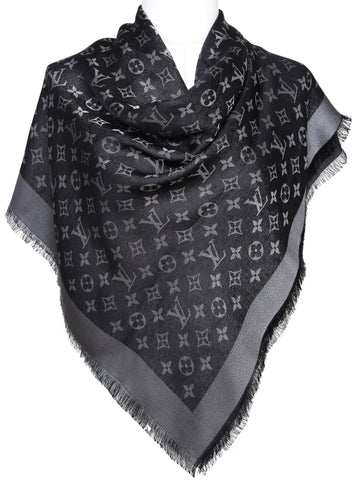 LOUIS VUITTON Black Silver MONOGRAM SHAWL Silk Wool Fringe Large Scarf Wrap - Evesherfashion