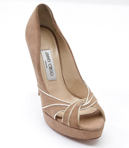 JIMMY CHOO Platform Pump Suede Leather KILDA Nude Tan Gold Peep Toe Heel 38.5 - Evesherfashion