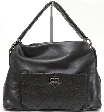 CHANEL Black Lambskin Leather QUILTED 8 KNOTS Hobo Shoulder Mademoiselle - Evesherfashion