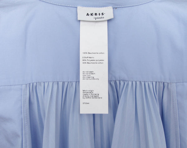 AKRIS PUNTO Shirt Blouse Top Button Down Blue Pleated Cotton Short Sleeve Sz 10 - Evesherfashion