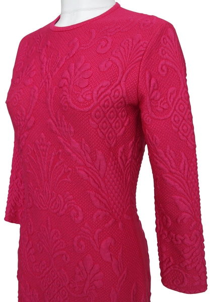 ALEXANDER MCQUEEN Dress Knit Sweater Floral Brocade Long Sleeve Fuchsia Pink L - Evesherfashion