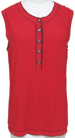 CHANEL Sweater Knit Top Sleeveless Buttons Red Navy Sz 46 CRUISE 2014 - Evesherfashion