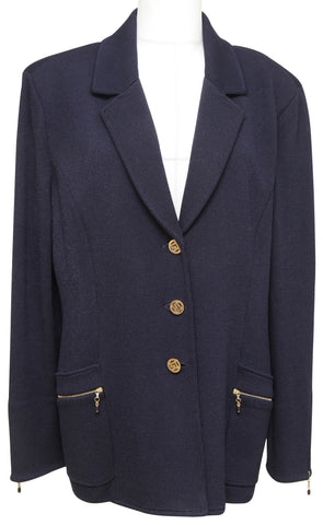 ST. JOHN COLLECTION Cardigan Knit Sweater Blazer Navy Blue Gold HW Buttons 16 - Evesherfashion