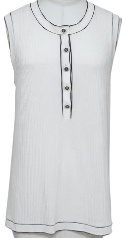 CHANEL Sweater Knit Top Sleeveless Buttons White Black Sz 46 CRUISE 2014 - Evesherfashion
