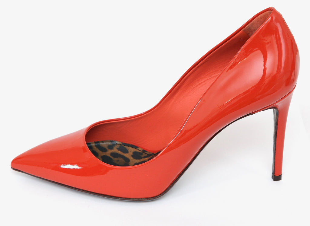 4899a357c91 ... DOLCE   GABBANA Pump Orange Patent Leather 85mm Pointed Toe Leopard Sz  38 NIB - Evesherfashion ...