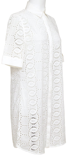 ANNE FONTAINE White Shirt Dress Short Sleeve Button Down Eyelet Collar Cotton 40 - Evesherfashion