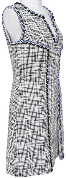 CHANEL Tweed Dress White Blue Sleeveless Chevron Trim Shift Silver CC Sz 42 BNWT - Evesherfashion