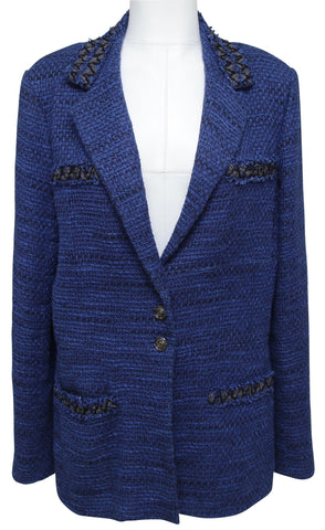 CHANEL Jack Blazer Coat Vest Tweed Black Royal Blue Long Sleeve 48 Spring 2009 - Evesherfashion