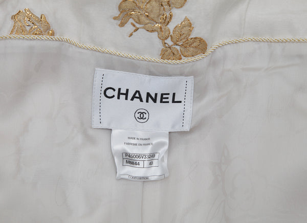 CHANEL Jacket Blazer Double Breasted Silk Brocade Off White Gold 40 Cruise 2013 - Evesherfashion