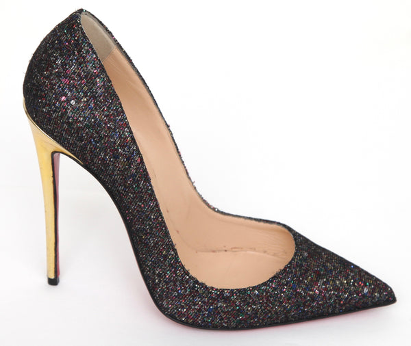 CHRISTIAN LOUBOUTIN So Kate 120 Pump Black Iridescent Textile Gold Leather 38.5 - Evesherfashion
