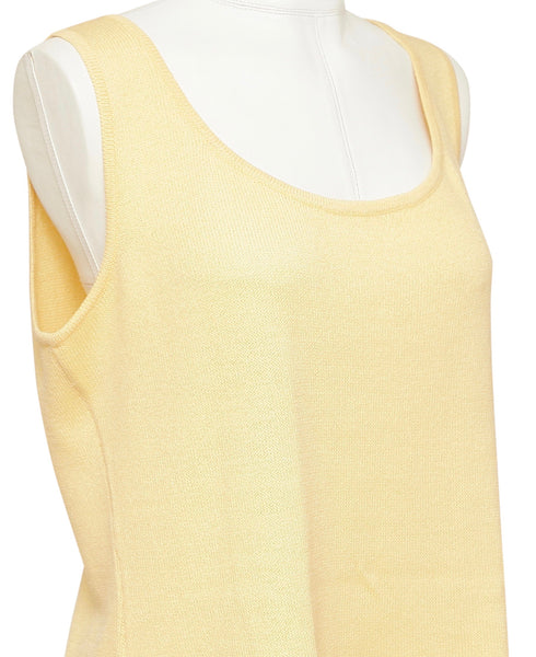 ST. JOHN Knit Sweater Shell Sleeveless Yellow Sz M - Evesherfashion
