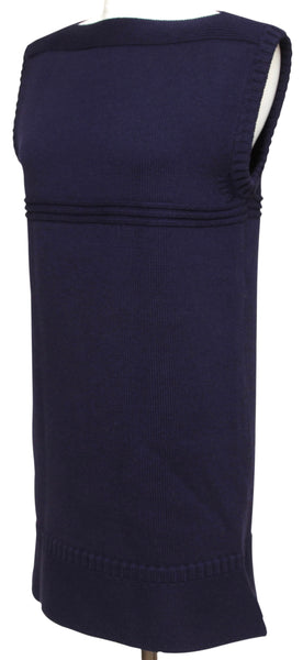 CHLOE Sweater Knit Dress Sleeveless Blue Navy Bateau Neck Sz XS - Evesherfashion