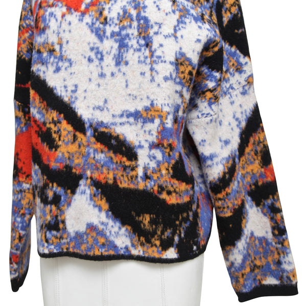 SPORTMAX Sweater Long Sleeve Abstract Pattern Wool Blend Stand Up Collar Sz S - Evesherfashion