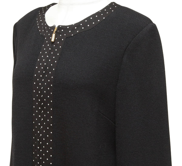 ST. JOHN COLLECTION Black Knit Jacket Sweater Blazer Polka Dot White Sz 14 - Evesherfashion
