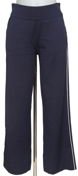 CHANEL Pant Navy Blue Wide Leg White Trim Elastic Waist Sz 36 Spring 2018 BNWT - Evesherfashion