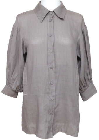 MISSONI Button Down Shirt Blouse Tunic Taupe 3/4 Sleeve Top Linen Sz M - Evesherfashion