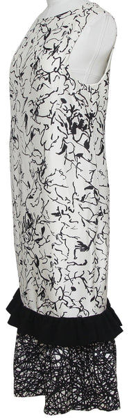 BALENCIAGA Dress Maxi Black White Long Print Sleeveless Silk Cocktail Sz 40 - Evesherfashion