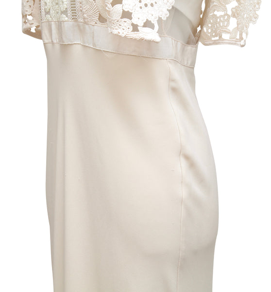 SELF-PORTRAIT Dress Midi Ivory Lace Sleeveless Polyester Mock Neck US 8 UK 12 - Evesherfashion