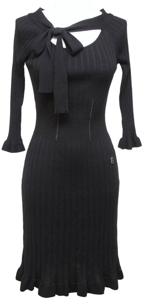 CHRISTIAN DIOR Black Dress Sweater Knit Top Scoop Neck Tie 3/4 Sleeve Sz 6 38 - Evesherfashion