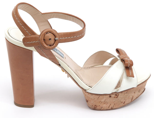 PRADA Platform Sandal White Saffiano Leather Natural Cork Peep Toe Sz 37.5 - Evesherfashion