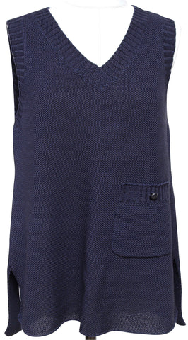 CHANEL Top Knit Sweater Shirt Sleeveless Navy Blue Cotton V-Neck 40  SPRING 2015 - Evesherfashion