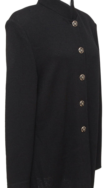 ST. JOHN COLLECTION Black Knit Jacket Cardigan Stand-Up Collar Buttons 14 - Evesherfashion