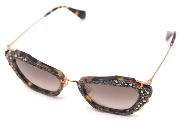 MIU MIU Sunglasses CAT EYE Tortoise Brown Rhinestones Gold-Tone SMU 04Q - Evesherfashion