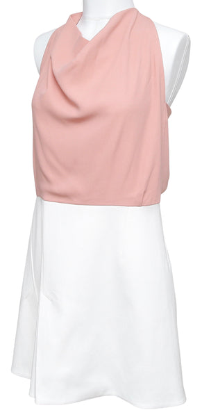 ROLAND MOURET Sleeveless Dress Cowl Neck 2016 PAGET White Pink 14 BNWT $1,230 - Evesherfashion
