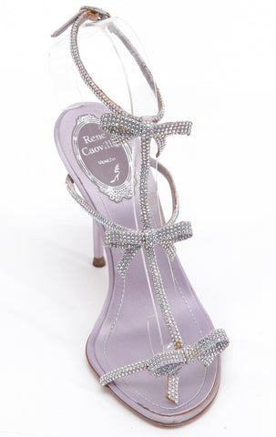 RENE CAOVILLA Sandal Satin Crystal Lilac Leather T-Strap Bow Ankle Sz 36.5 - Evesherfashion