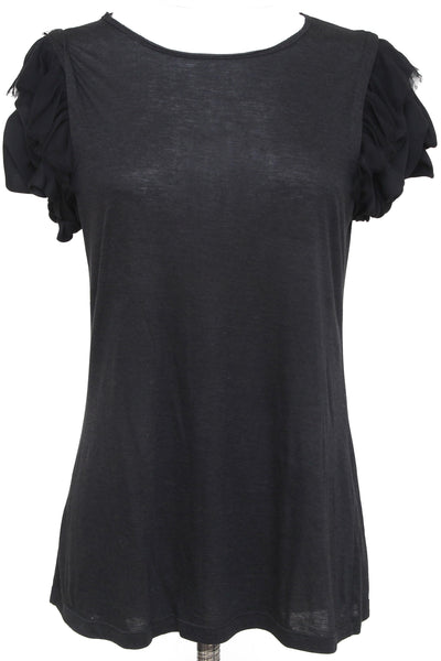 ALICE + OLIVIA T-Shirt Top Black Cap Sleeve Cotton Blend One Size - Evesherfashion