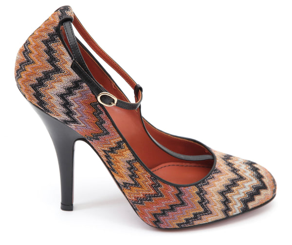 MISSONI Pump T-Strap Textile Orange Brown Leather Shoe Heel Sz 39 - Evesherfashion