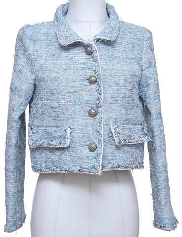 CHANEL Jacket Blazer Tweed Lesage Fringe Blue White Spring Summer 2015 Sz 38 - Evesherfashion