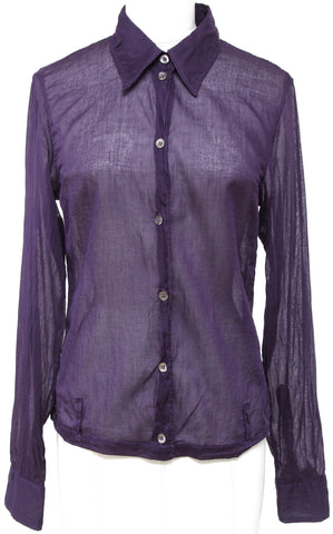 ANN DEMEULEMEESTER Purple Long Sleeve Top Blouse Shirt Semi-Sheer Sz 36 - Evesherfashion