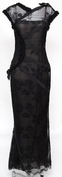 CHANEL Black Lace Long Knit Dress Bow Floral Slip Zipper Gown Maxi Sz 38 - Evesherfashion
