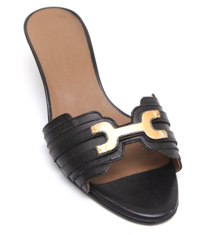 HERMES Black Leather Slide Sandal Gold-Tone HW Kitten Heel Sz 37 - Evesherfashion