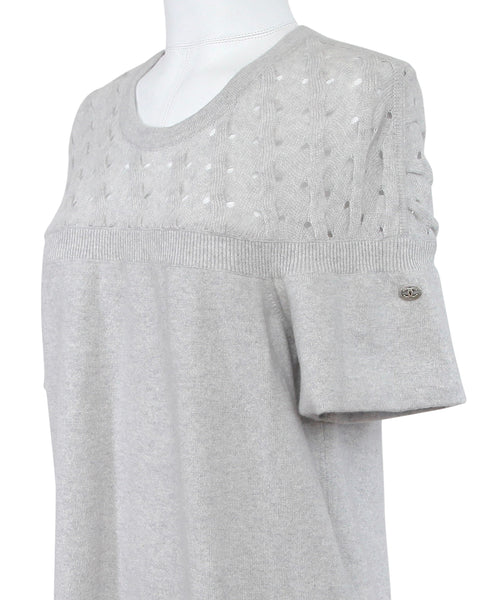 CHANEL Dress Knit Sweater Cashmere Grey Short Sleeve 2013 Pre-Fall 13 Sz 46 - Evesherfashion